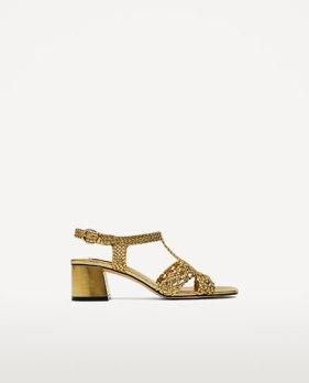 sandale tissage gold